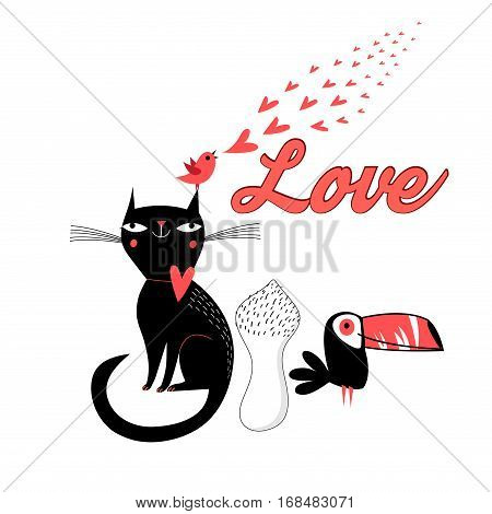 Bright greeting card with a cat and a bird in love