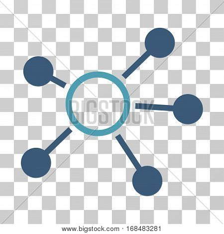 Connections icon. Vector illustration style is flat iconic bicolor symbol, cyan and blue colors, transparent background. Designed for web and software interfaces.