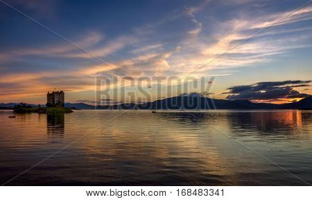 Stalker Castle in evening light Highlands Scotland