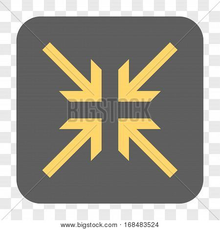 Collide Arrows interface toolbar button. Vector icon style is a flat symbol on a rounded square button yellow and gray colors chess transparent background.