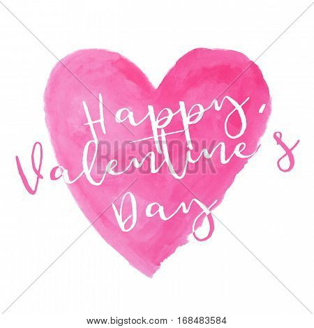 pink heart watercolor paint isolated on white background with word Happy Valentine's day