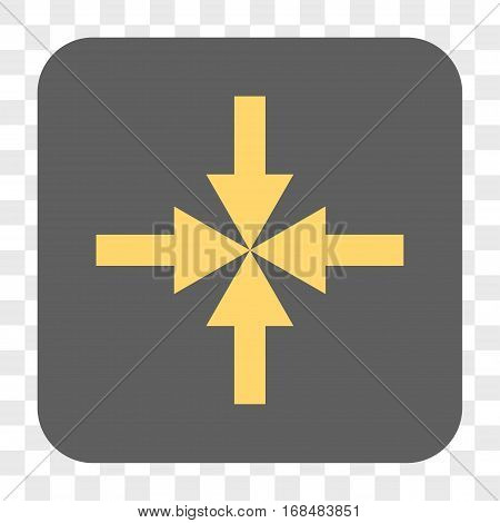 Compress Arrows interface toolbar button. Vector icon style is a flat symbol inside a rounded square button yellow and gray colors chess transparent background.