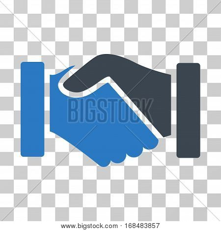 Acquisition Handshake icon. Vector illustration style is flat iconic bicolor symbol, smooth blue colors, transparent background. Designed for web and software interfaces.