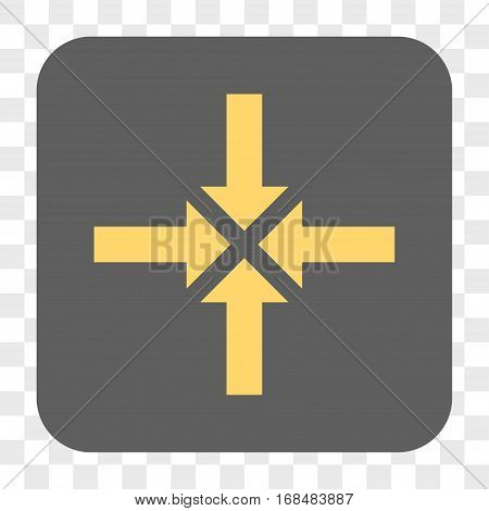 Compress Arrows interface toolbar button. Vector icon style is a flat symbol on a rounded square button yellow and gray colors chess transparent background.