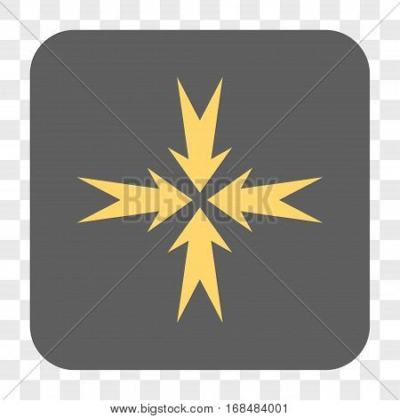 Compression Arrows interface toolbar button. Vector icon style is a flat symbol inside a rounded square button yellow and gray colors chess transparent background.