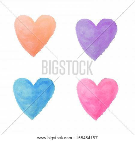 gradient 4 colors watercolor paint isolated on white background background