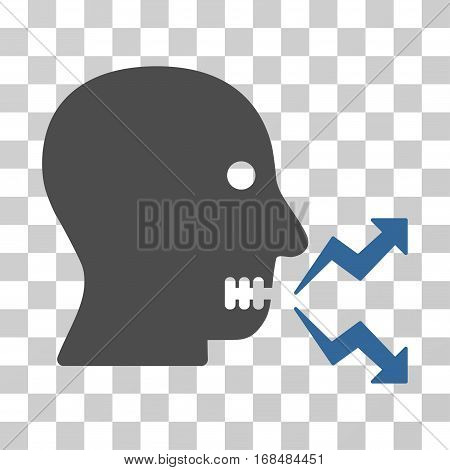 Angry Person Shout icon. Vector illustration style is flat iconic bicolor symbol, cobalt and gray colors, transparent background. Designed for web and software interfaces.