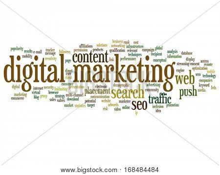 Vector concept conceptual digital marketing seo or traffic abstract word cloud isolated on background  metaphor to business, market, content, search, web, push, placement, communication or technology