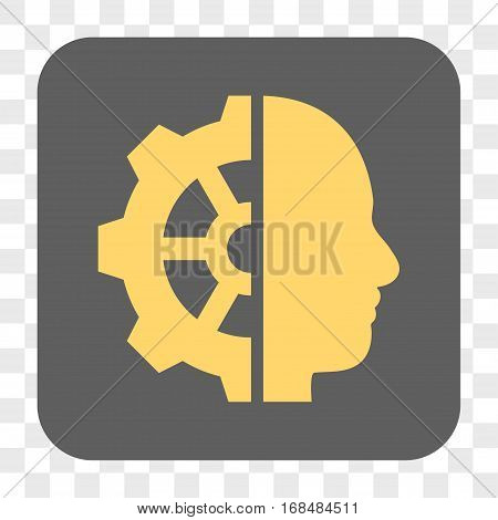 Cyborg Gear interface toolbar button. Vector icon style is a flat symbol on a rounded square button yellow and gray colors chess transparent background.