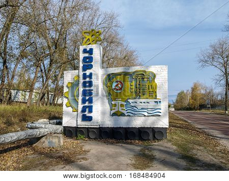 CHERNOBYL, UKRAINE - OCTOBER 24, 2016: Town sign of the abandoned city of Chernobyl in the Ukraine the city is located in the Chernobyl Exclusion Zone which was established after the nuclear disaster