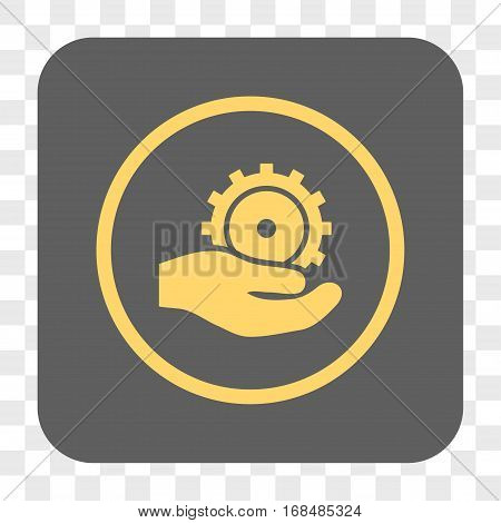 Development Service interface toolbar button. Vector icon style is a flat symbol inside a rounded square button yellow and gray colors chess transparent background.