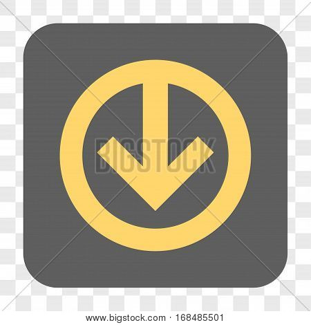 Direction Down interface toolbar button. Vector icon style is a flat symbol inside a rounded square button yellow and gray colors chess transparent background.