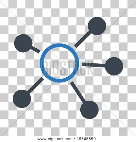 Connections icon. Vector illustration style is flat iconic bicolor symbol, smooth blue colors, transparent background. Designed for web and software interfaces.