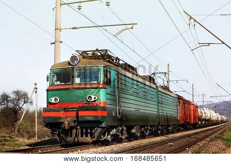 Front Of Old Train Crossing Railway And Transporting Goods Carriage, Transportation Concept.