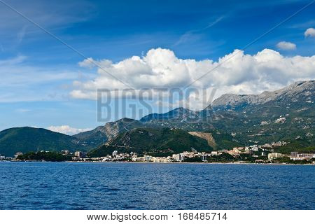 View of the Budva Riviera from sea side. Montenegro, Europe