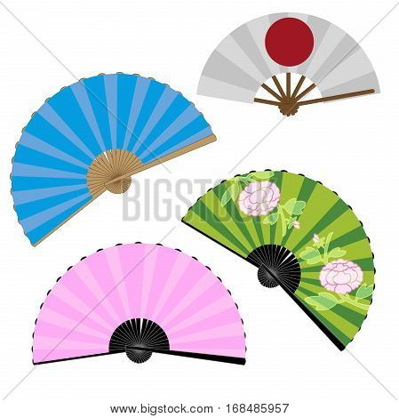 Japanese fans with the image of a peony, flag of Japan, mixed