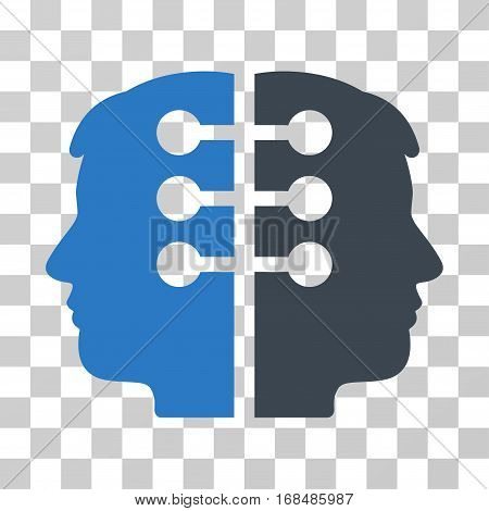 Dual Head Interface icon. Vector illustration style is flat iconic bicolor symbol, smooth blue colors, transparent background. Designed for web and software interfaces.
