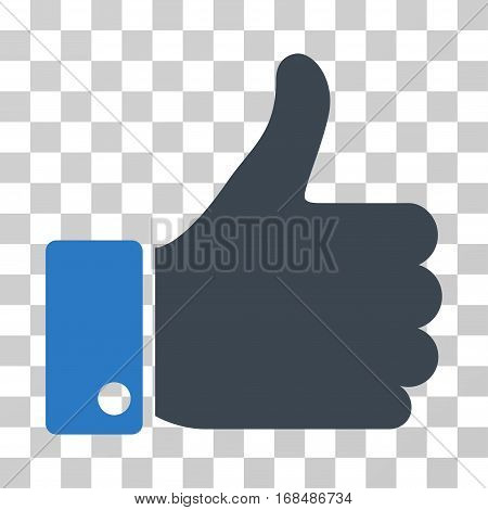 Thumb Up icon. Vector illustration style is flat iconic bicolor symbol, smooth blue colors, transparent background. Designed for web and software interfaces.