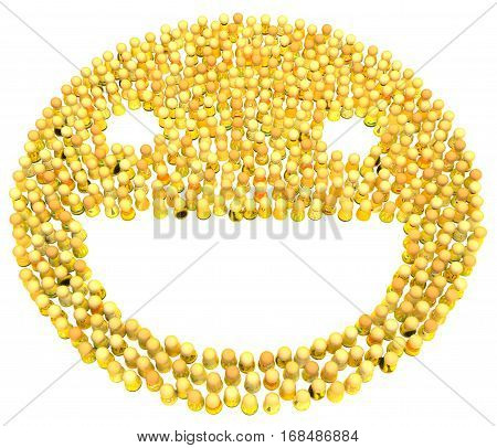 Crowd of small symbolic figures, yellow smile face symbol shape, 3d illustration, horizontal