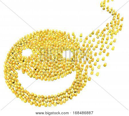 Crowd of small symbolic figures gathering, yellow smile face symbol shape, 3d illustration, horizontal