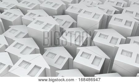 Small white house front abstract background, 3d illustration, horizontal