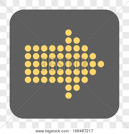 Dotted Arrow Right interface toolbar button. Vector icon style is a flat symbol inside a rounded square button yellow and gray colors chess transparent background.