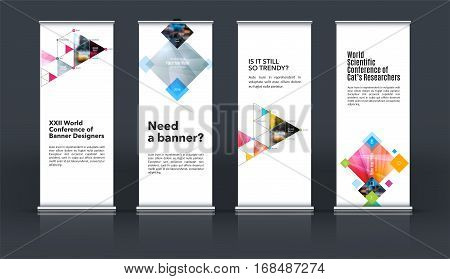 Mega set. Abstract business vector set of modern roll Up Banner stand design template with orange rectangles, triangles for exhibition, fair, show, exposition, expo, presentation, events.