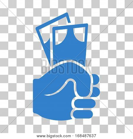 Banknotes Salary Hand icon. Vector illustration style is flat iconic symbol, cobalt color, transparent background. Designed for web and software interfaces.