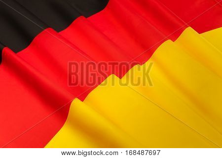 Close-up picture of silky pleated flag of Germany