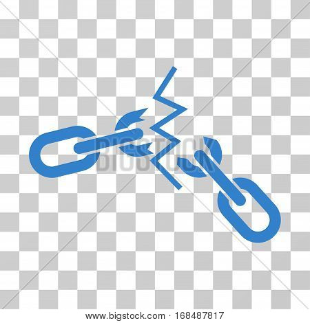 Broken Chain icon. Vector illustration style is flat iconic symbol, cobalt color, transparent background. Designed for web and software interfaces.