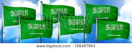 Saudi Arabia flags, 3D rendering, on a cloud background