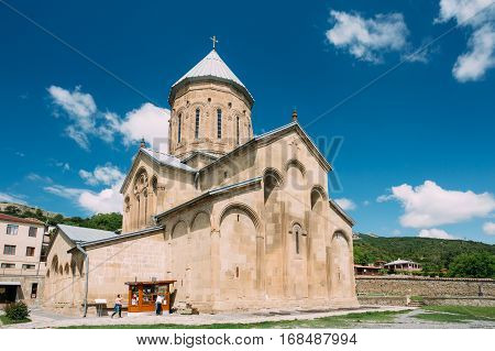 Mtskheta, Georgia - May 20, 2016: The View Of Samtavro Transfiguration Orthodox Church The Part Of Samtavro Monastery Complex With Nunnery Of St. Nina In Sunny Day Under Blue Sky.