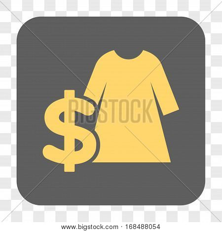 Dress Price interface toolbar button. Vector icon style is a flat symbol inside a rounded square button yellow and gray colors chess transparent background.