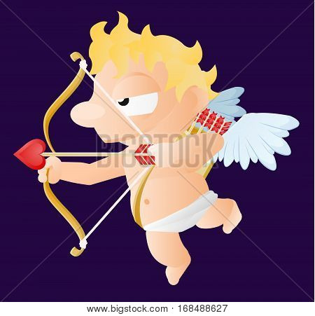Valentine cartoon cupid baby character, vector illustration, isolated, over white