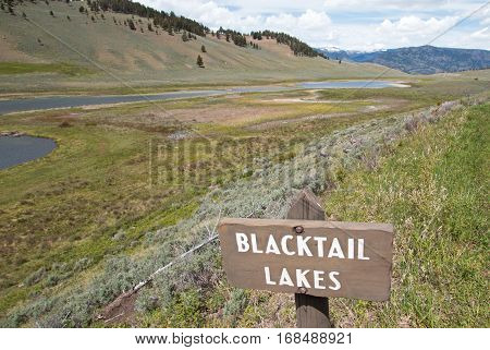 Blacktail Lakes Sign in Yellowstone National Park in Wyoming USA