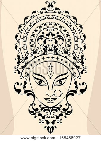 Durga Goddess of Power  Raster Illustration