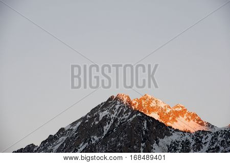 Snowy Peak in Tena Valley, Panticosa, Aragon, Huesca, Spain.