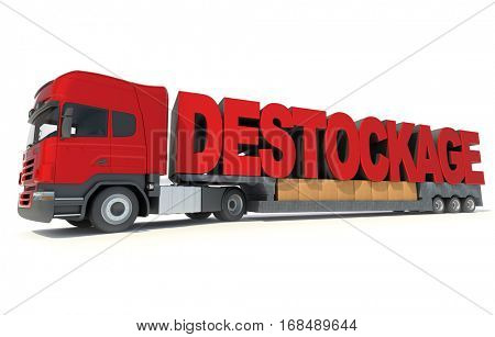3D rendering Long trailer truck carrying the letters forming the French word sales clearence