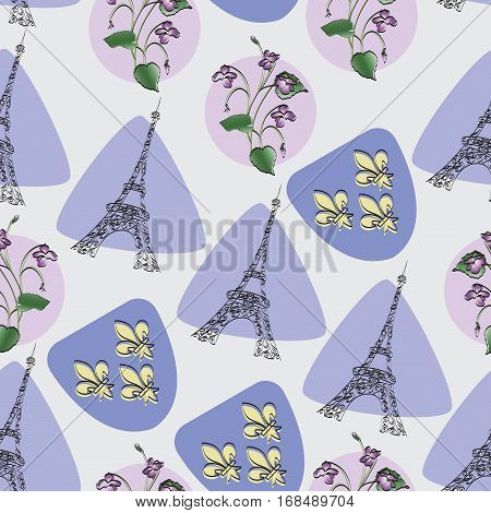 Eiffel tower, violet and Royal lilies. Seamless pattern. Design for textiles, tapestries, gift packaging, the symbol of Paris.