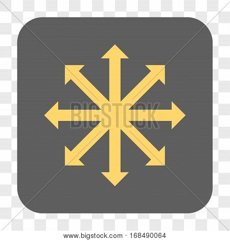 Expand Arrows interface toolbar button. Vector icon style is a flat symbol inside a rounded square button yellow and gray colors chess transparent background.