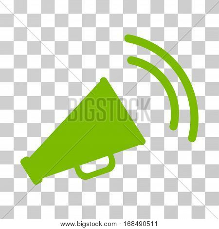 Announce Horn icon. Vector illustration style is flat iconic symbol, eco green color, transparent background. Designed for web and software interfaces.
