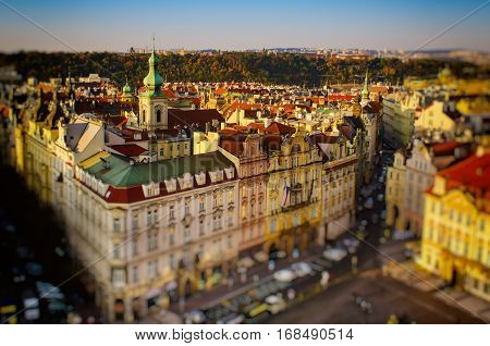 Old Town Square in eastern european Czech capital Prague - view from Town Hall with tilt-shift blurred effect