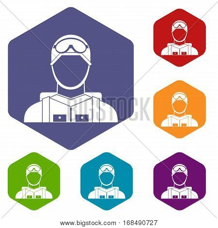 Military paratrooper icons set rhombus in different colors isolated on white background