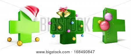 Medical cross the new year set on a white background 3D illustration