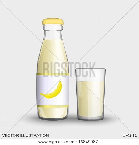 Banana Juice In A Transparent Glass Bottle Isolated