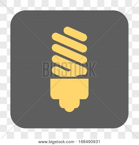 Fluorescent Bulb interface toolbar button. Vector icon style is a flat symbol on a rounded square button yellow and gray colors chess transparent background.