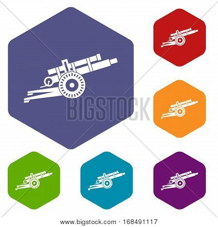 Artillery gun icons set rhombus in different colors isolated on white background