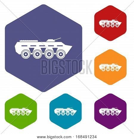 Army battle tank icons set rhombus in different colors isolated on white background