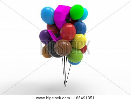 3d illustration of cartoon baloons with birds. white background isolated. icon for game web.