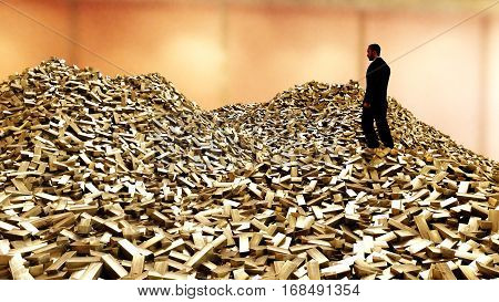 Man on pile of gold bars. business concept. 3d rendering